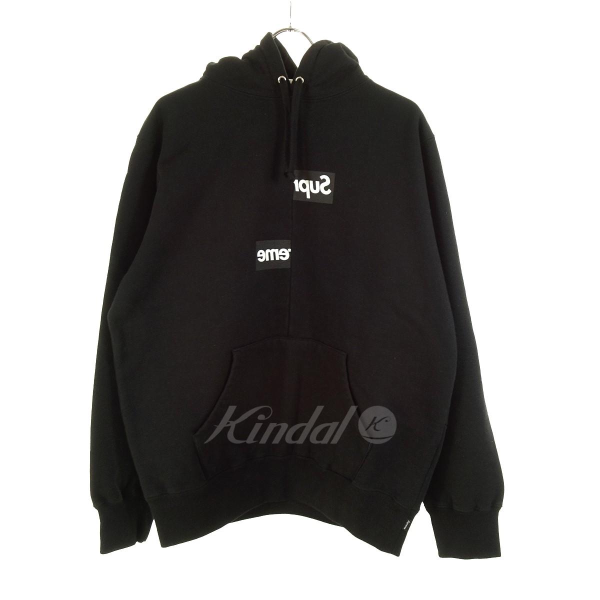 【中古】Supreme×COMME des GARCONS SHIRT Split box logo hooded shirt 18AW ブラック サイズ:M 【140519】(シュプリーム×コムデギャルソンシャツ)