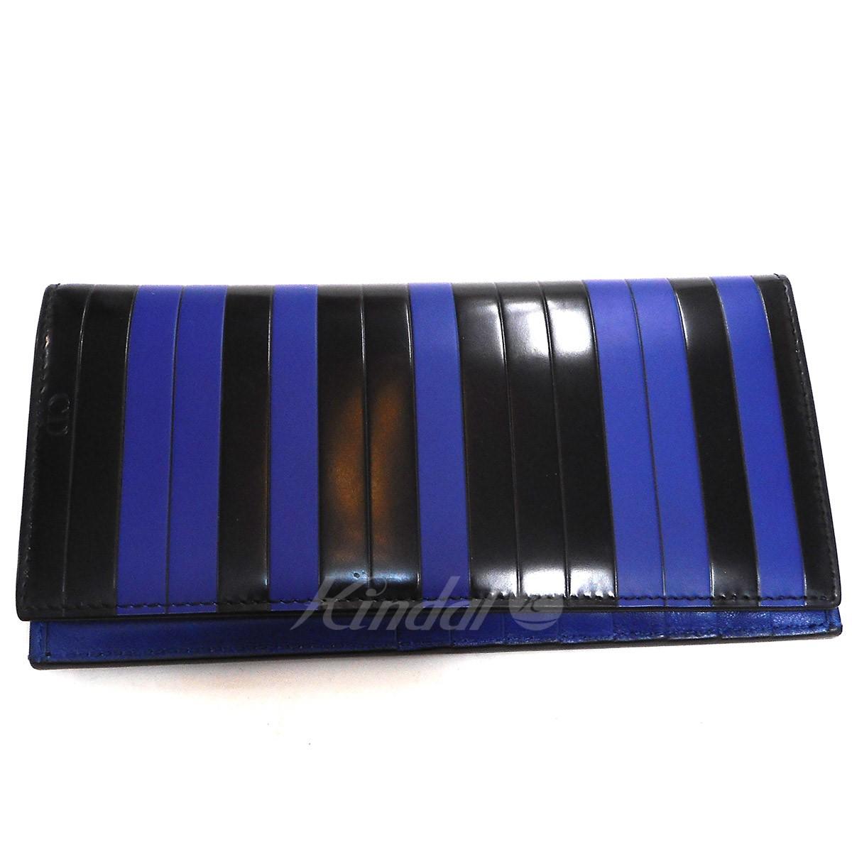 【中古】Dior Homme ラインカラー長財布 ブルー×ブラック 【140519】(ディオールオム)