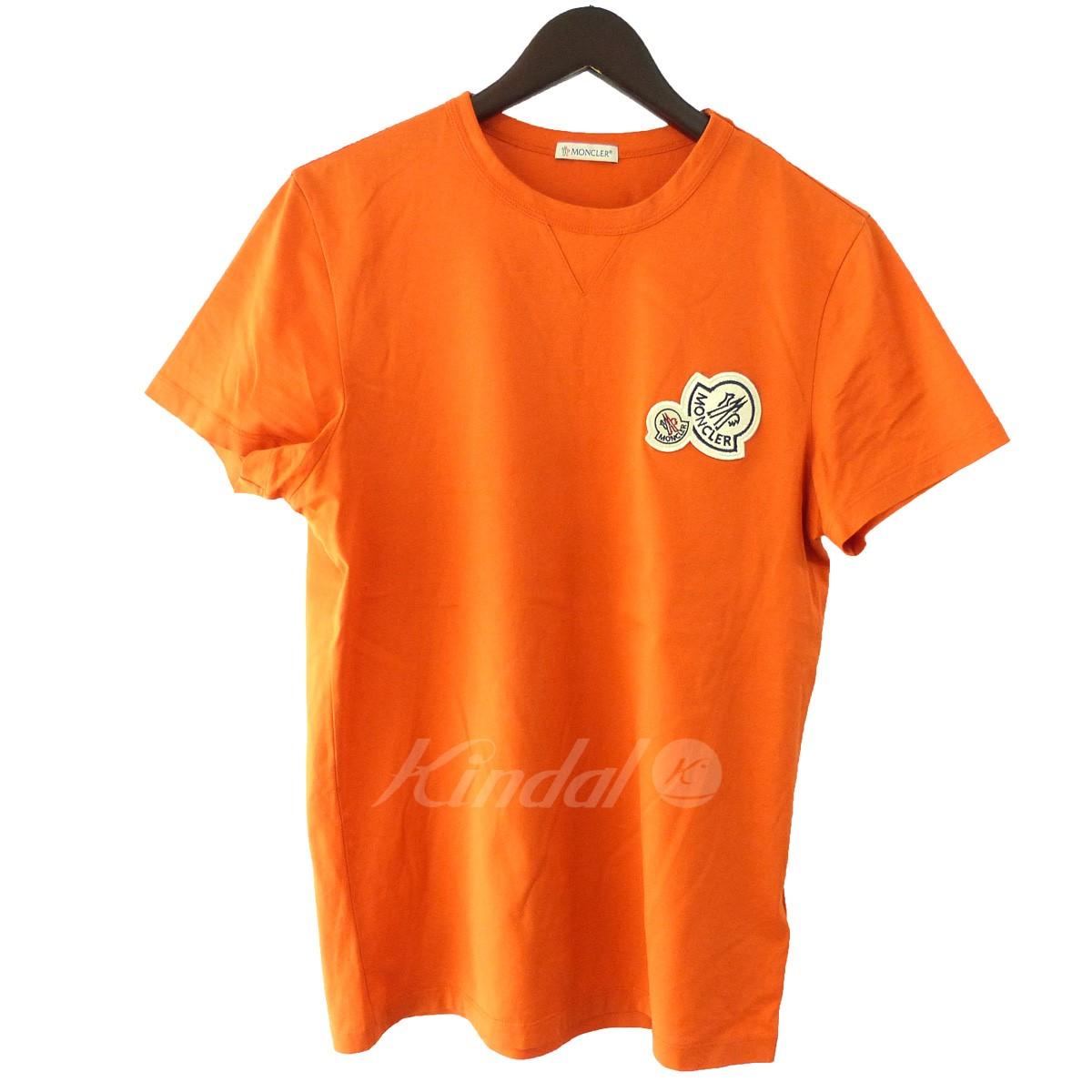 【中古】MONCLER 「MAGLIA T-SHIRT」ワンポイントTシャツ オレンジ サイズ:S 【150519】(モンクレール)