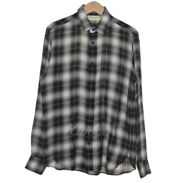 【中古】SAINT LAURENT PARIS 15SS エディ期 チェックシャツ ブラック×ホワイト サイズ:38 【160519】(サンローランパリ)