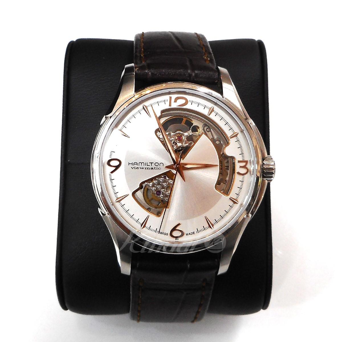 【中古】HAMILTON ジャズマスター オープンハート 茶レザー H325650 腕時計 シルバー 【送料無料】 【150519】(ハミルトン)