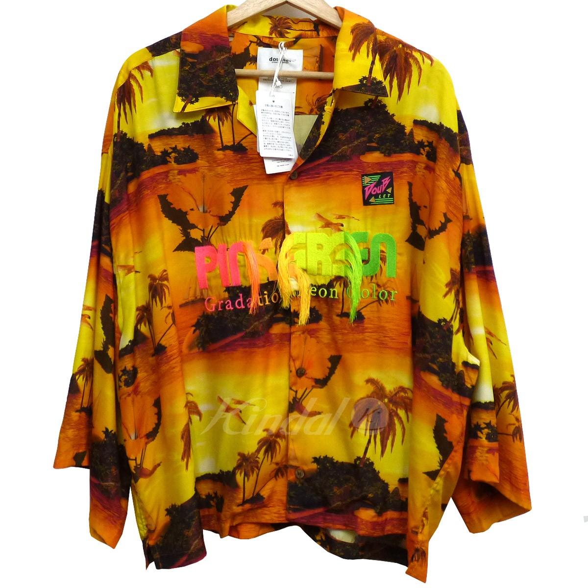 【中古】doublet 19SS GRADITION NEON EMBROIDERY ALOHA SHIRTアロハシャツ オレンジ サイズ:XL 【170519】(ダブレット)