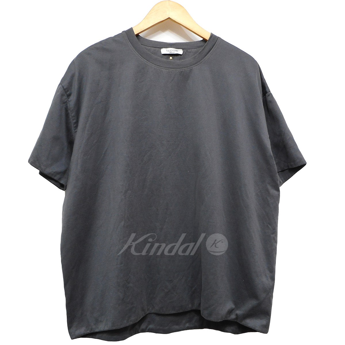 【中古】VALENTINO ロックスタッズダブルフェイスTシャツ チャコールグレー サイズ:L 【180519】(ヴァレンチノ)