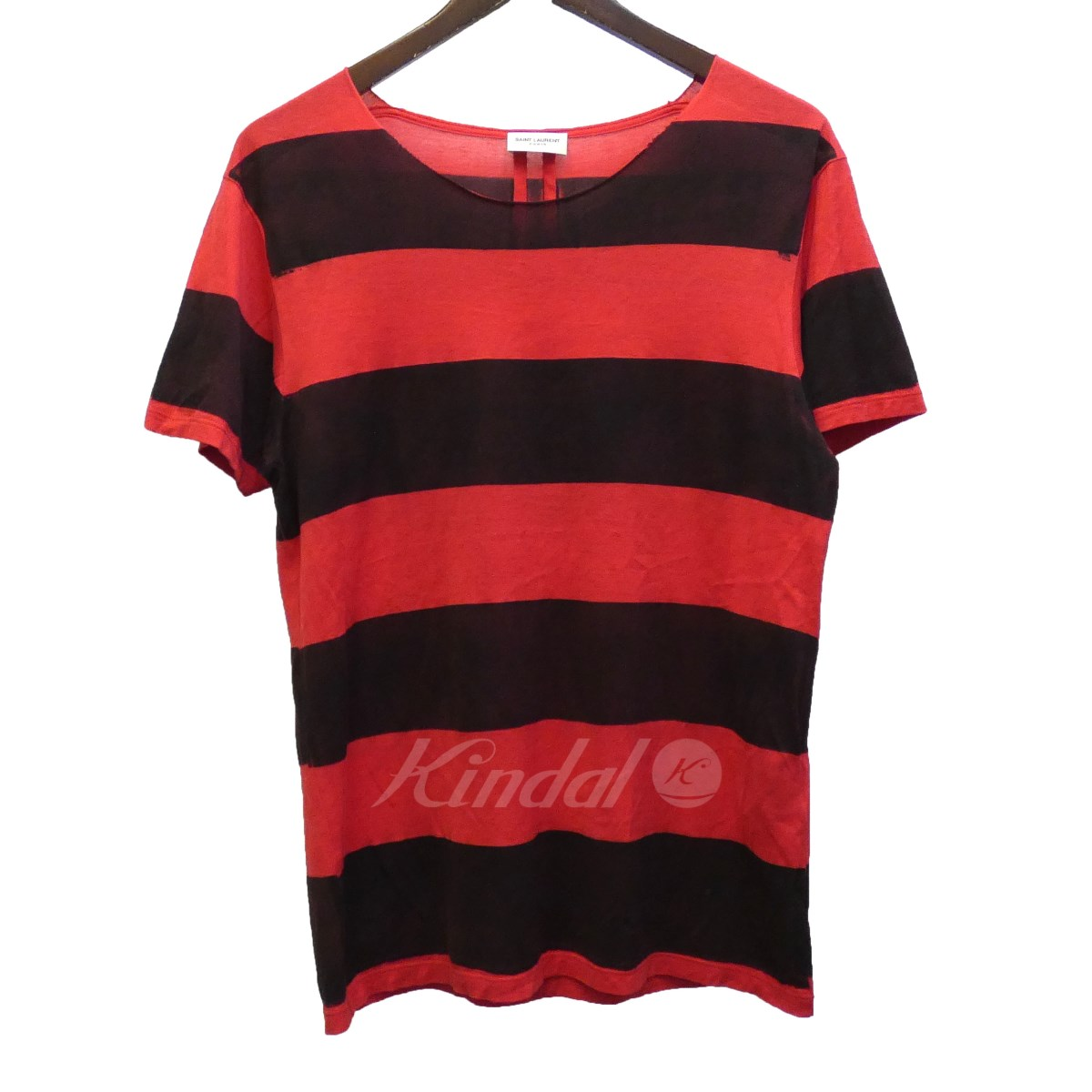 【中古】SAINT LAURENT PARIS 15AW 387885 ペイントボーダーTシャツ レッド×ブラック サイズ:XS 【190519】(サンローランパリ)