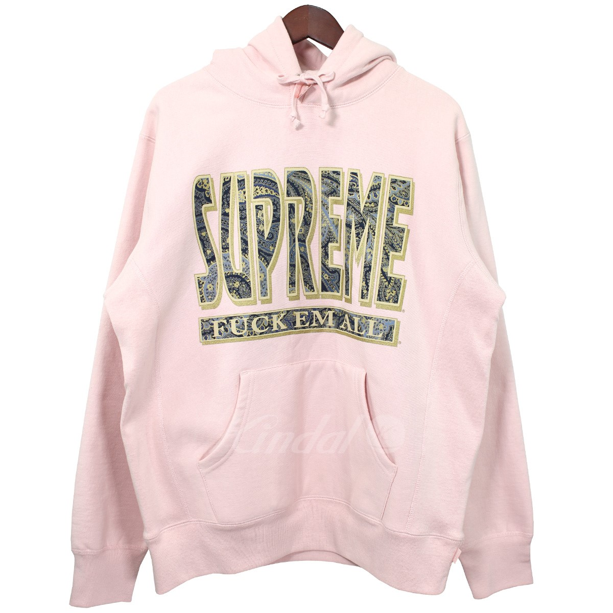 【中古】SUPREME 2017AW Paisley Fuck Em All Hooded Sweatshirt ピーチ サイズ:M 【200519】(シュプリーム)