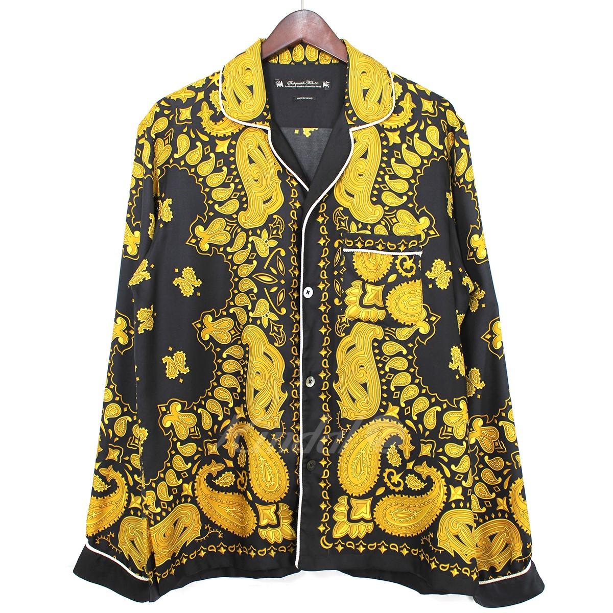 【中古】SASQUATCH fabrix 14AW SLEEPING SHIRT ペイズリー シルクシャツ ブラック×ゴールド サイズ:L 【200519】(サスクワッチファブリックス)