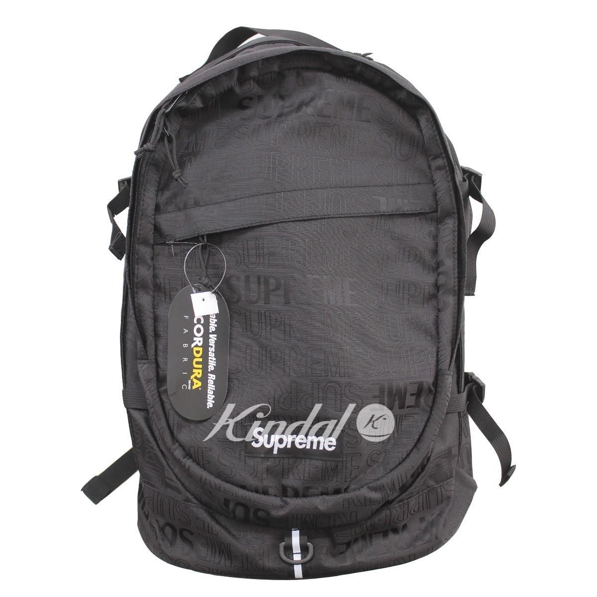 【中古】SUPREME 19SS Backpack エンボスロゴバックパック ブラック サイズ:- 【210519】(シュプリーム)