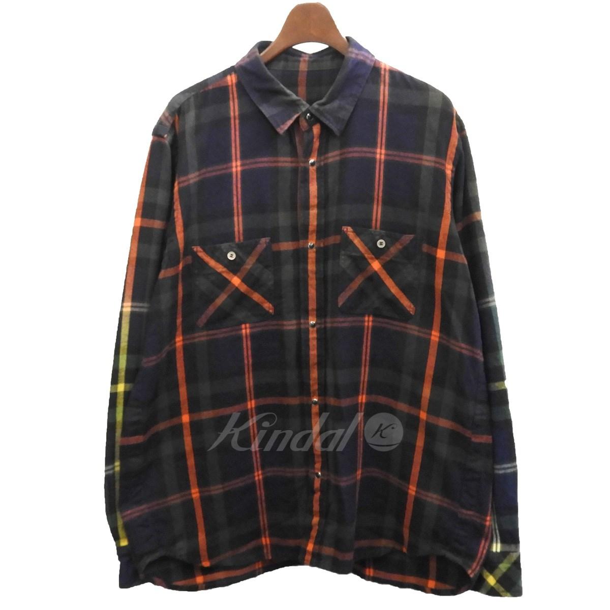 【中古】sacai グラデーションフランネルチェックシャツ パープル×グリーン サイズ:2 【260519】(サカイ)