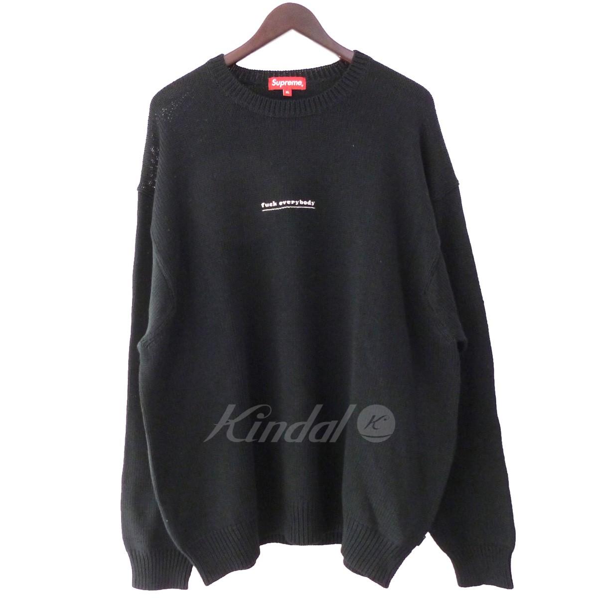 【中古】SUPREME '19SS 「Fuck Everyday Sweater」クルーネックニットセーター ブラック サイズ:XL 【260519】(シュプリーム)
