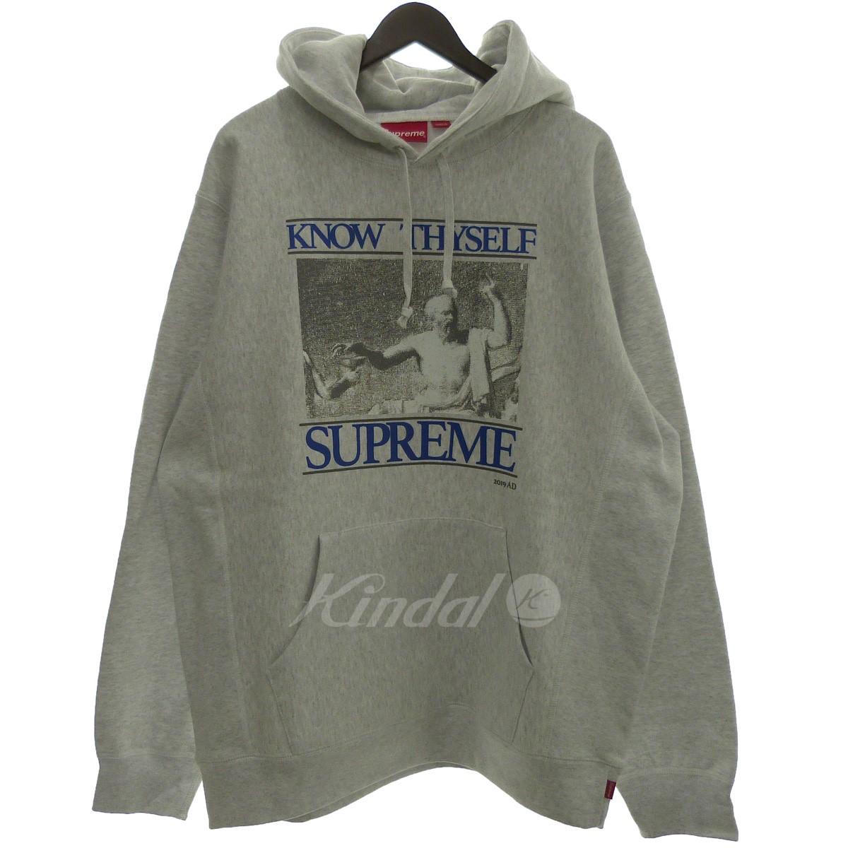 【中古】SUPREME '19SS 「Know Thyself Hooded Sweatshirt」プルオーバーパーカー アッシュグレー サイズ:XL 【260519】(シュプリーム)