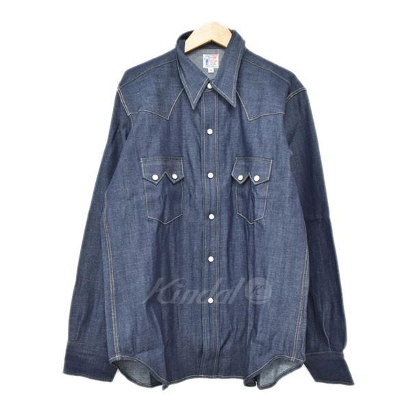 【中古】LEVIS VINTAGE CLOTHING ウエスタンデニムシャツ Sawtooth Denim Shir 55年モデル 米国製 インディゴ サイズ:M 【280519】(リーバイスヴィンテージクロージング)