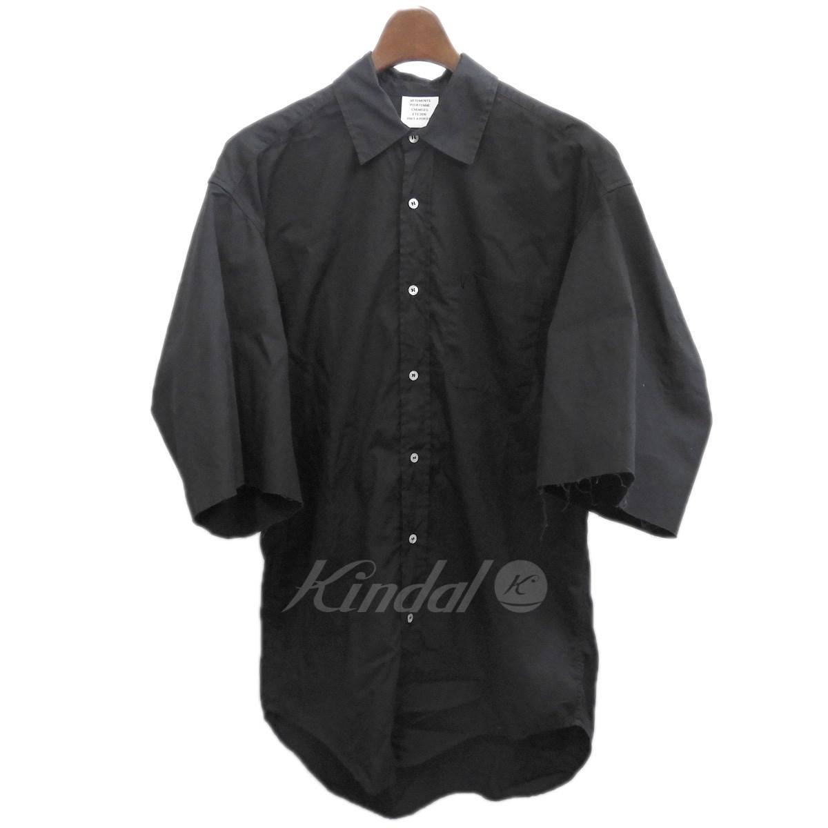 【中古】VETEMENTS2016SS 半袖シャツ ブラック サイズ:M