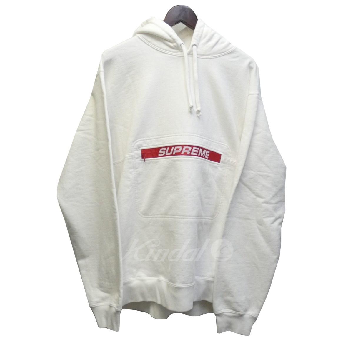 【中古】SUPREME 19SS「ZipPouch Hooded Sweatshirt」ジップポーチロゴプルオーバーパーカー ホワイト サイズ:XL 【310519】(シュプリーム)
