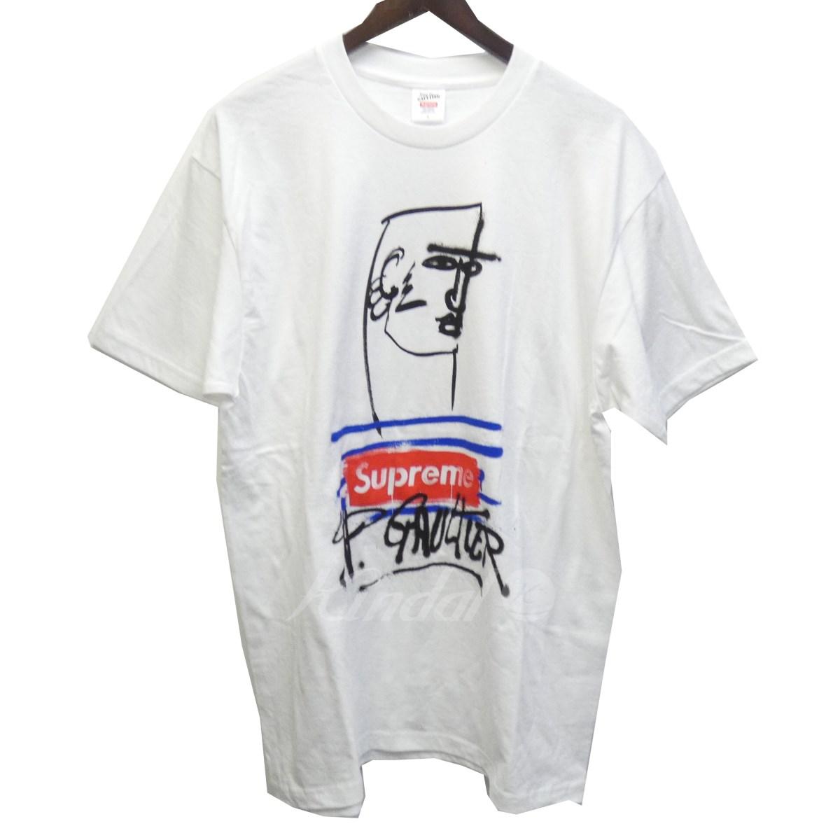 【中古】SUPREME × Jean Paul GAULTIER 19SS 「Jean Paul Gaultier Tee」プリントTシャツ ホワイト サイズ:L 【310519】(シュプリーム ジャンポールゴルチェ)