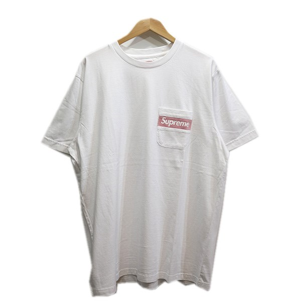 【中古】SUPREME 19SS Mesh Stripe Pocket Tee メッシュストライプTシャツ ホワイト サイズ:lL 【310519】(シュプリーム)