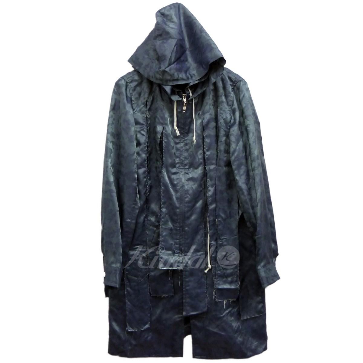 【中古】COMME des GARCONS HOMME PLUS19SS ジャガードカモレイヤードコート ブルー サイズ:S 【4月23日見直し】