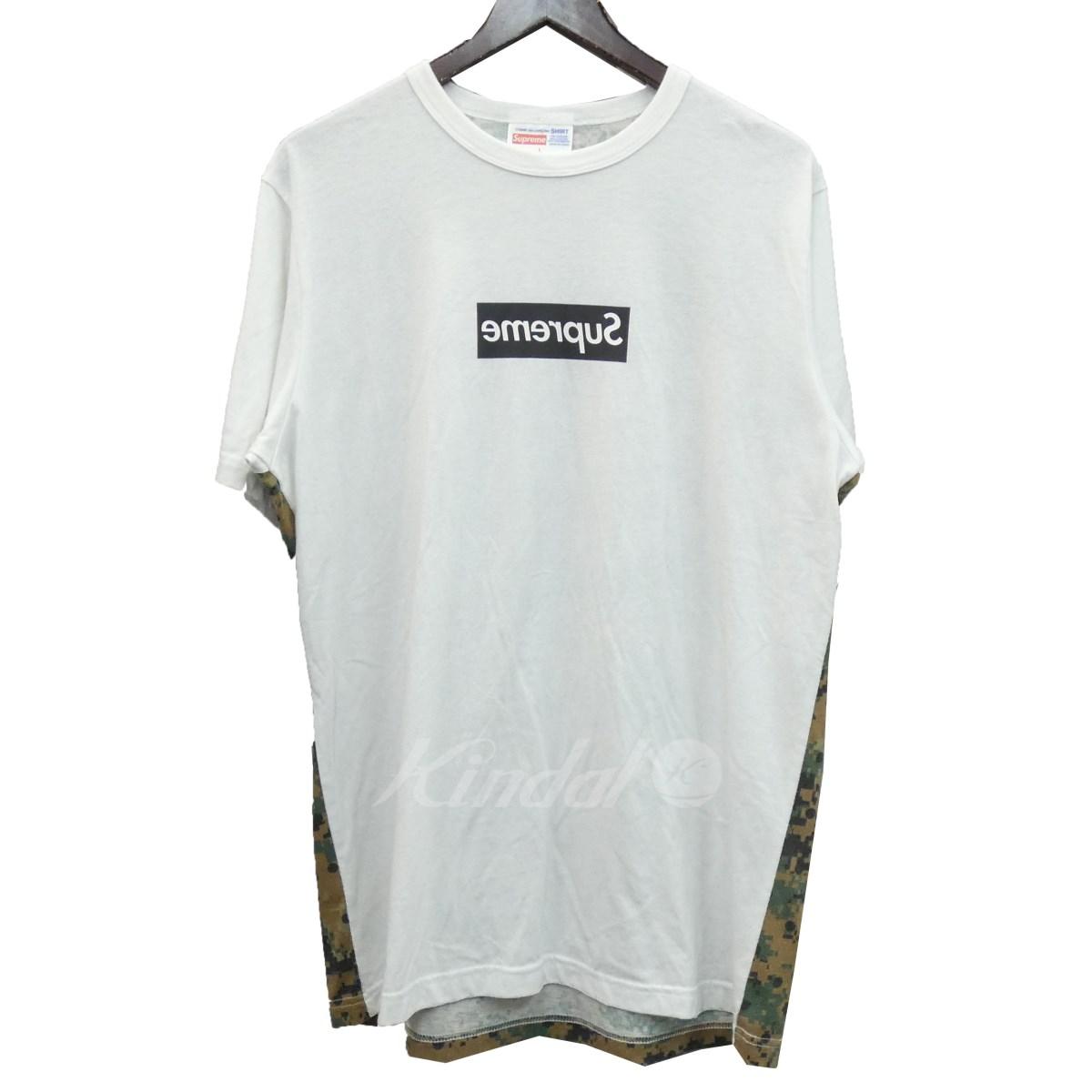 【中古】SUPREME×CdG SHIRT 13SS「Mirror Box Logo Tee」デジタルカモ切替ミラーボックスロゴTシャツ ホワイト サイズ:L 【020619】(シュプリーム コムデギャルソンシャツ)