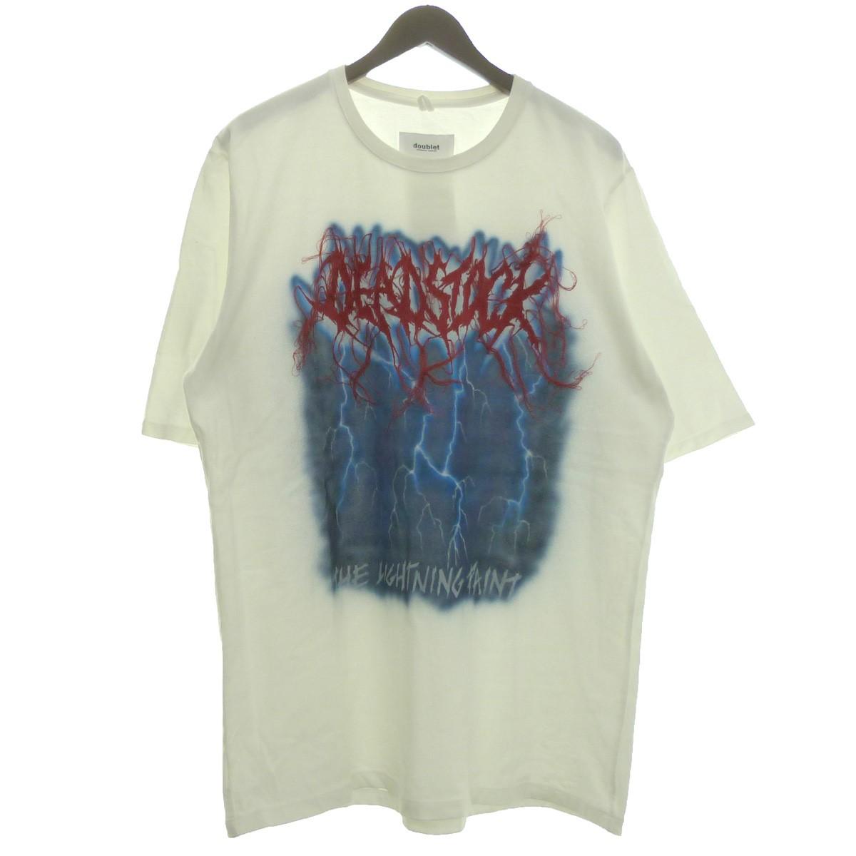 【中古】doublet 18SS「DEADSTOCK EMBROIDERY T-SHIRT」ハンドペイントTシャツ ホワイト サイズ:L 【030619】(ダブレット)