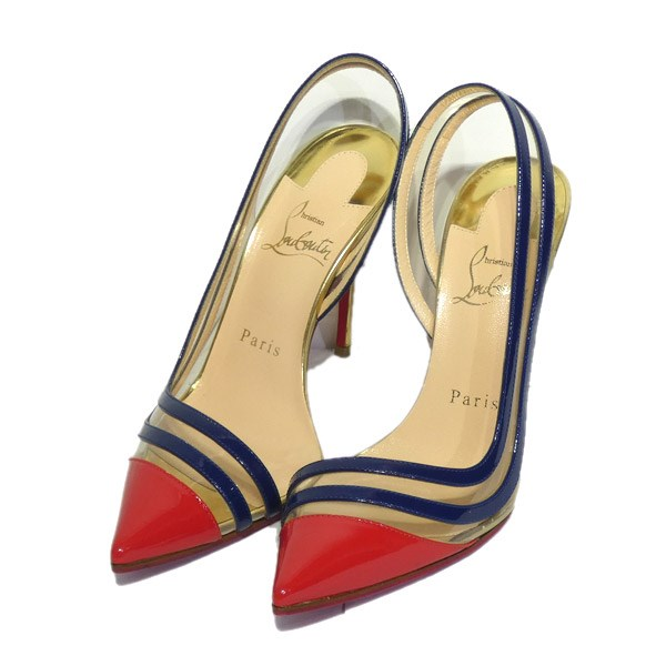 premium selection 4413d 365c5 CHRISTIAN LOUBOUTIN pointed toe heel pumps clear X red X navy size: 36  (クリスチャンルブタン)