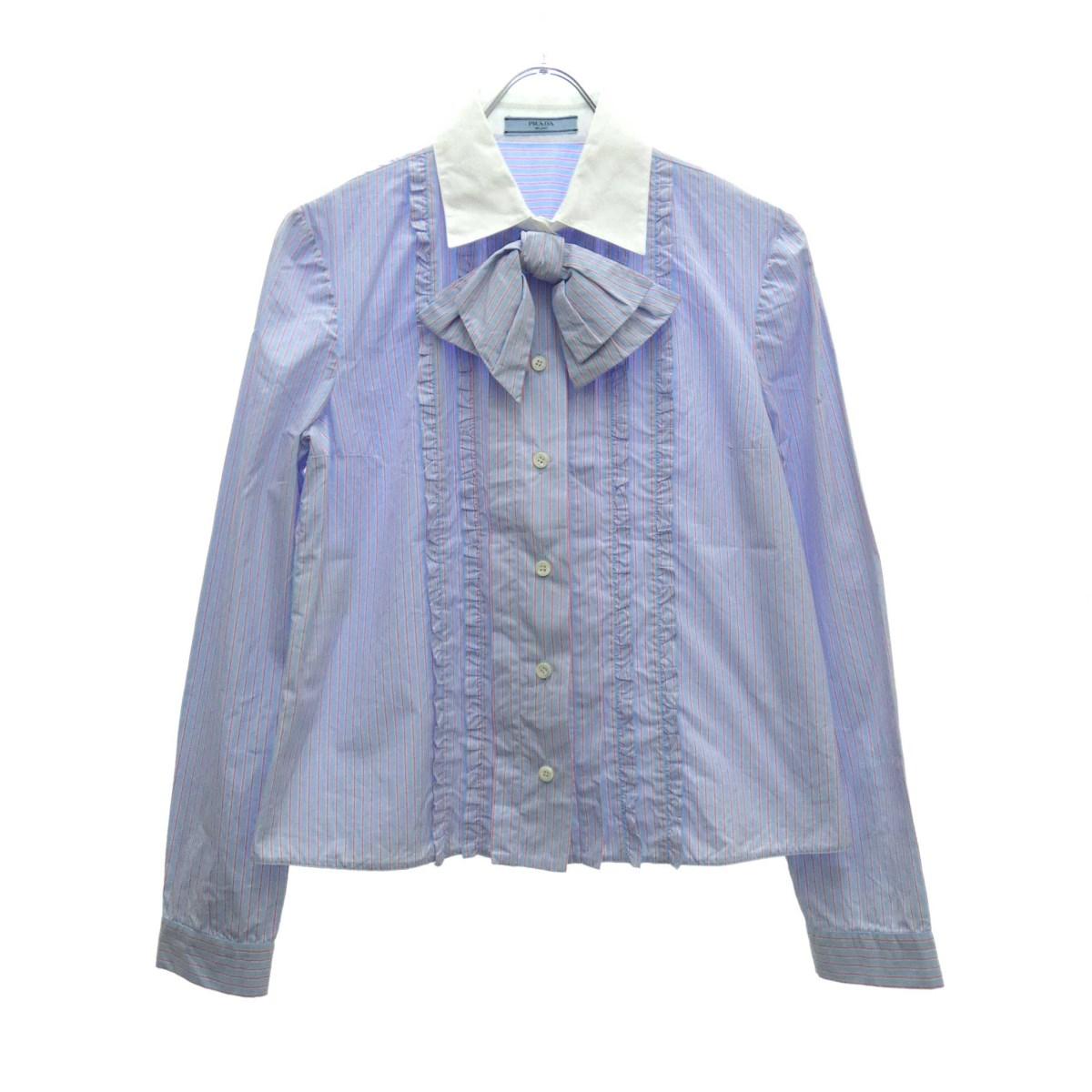 【中古】PRADA リボンストライプシャツ ブルー×ホワイト サイズ:38 【070619】(プラダ)