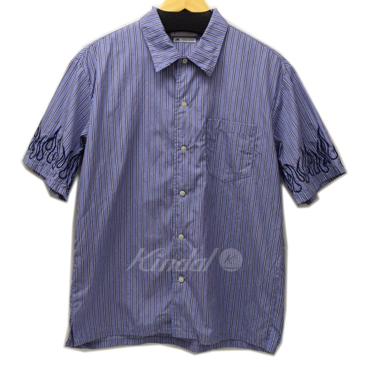 【中古】DISCOVERED FIRE STITCH SHIRT 袖刺繍ストライプ 2018SS ブルー サイズ:1 【120619】(ディスカバード)