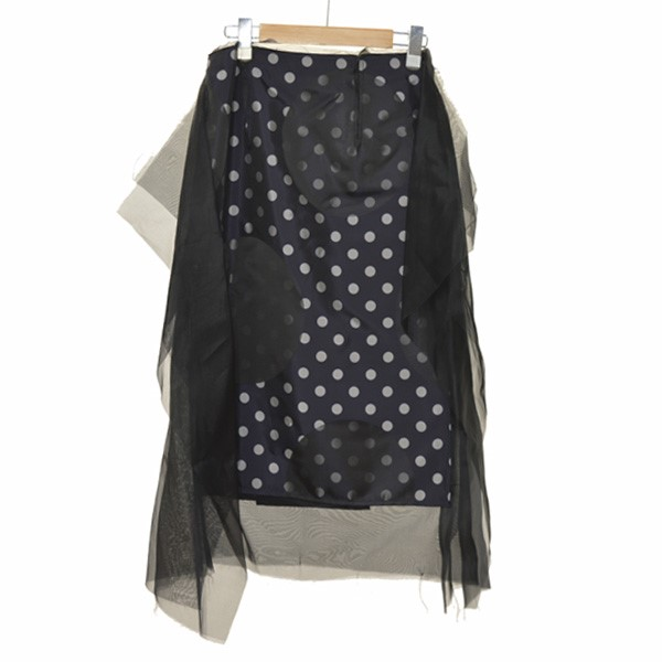 【中古】Martin Margiela 418SS Dots Jacquard Skirt With Chiffon ドットスカート ネイビーxブラック サイズ:38