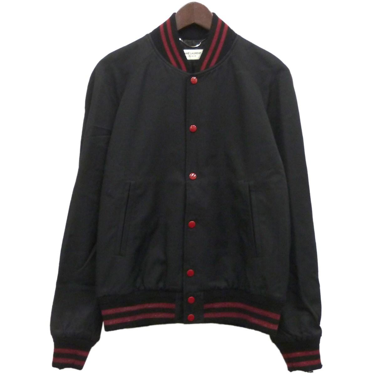 【中古】SAINT LAURENT PARIS17SS ダメージ加工テディジャケット ブラック サイズ:48 【4月16日見直し】