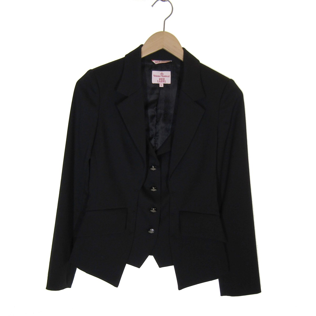 【中古】Vivienne Westwood RED LABEL2019SS レイヤードテーラードジャケット ブラック サイズ:1【3月2日見直し】