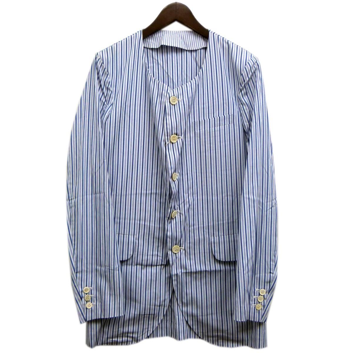 【中古】COMME des GARCONS HOMME PLUS17SS ノーカラーストライプシャツジャケット ブルー×ホワイト サイズ:S 【4月23日見直し】