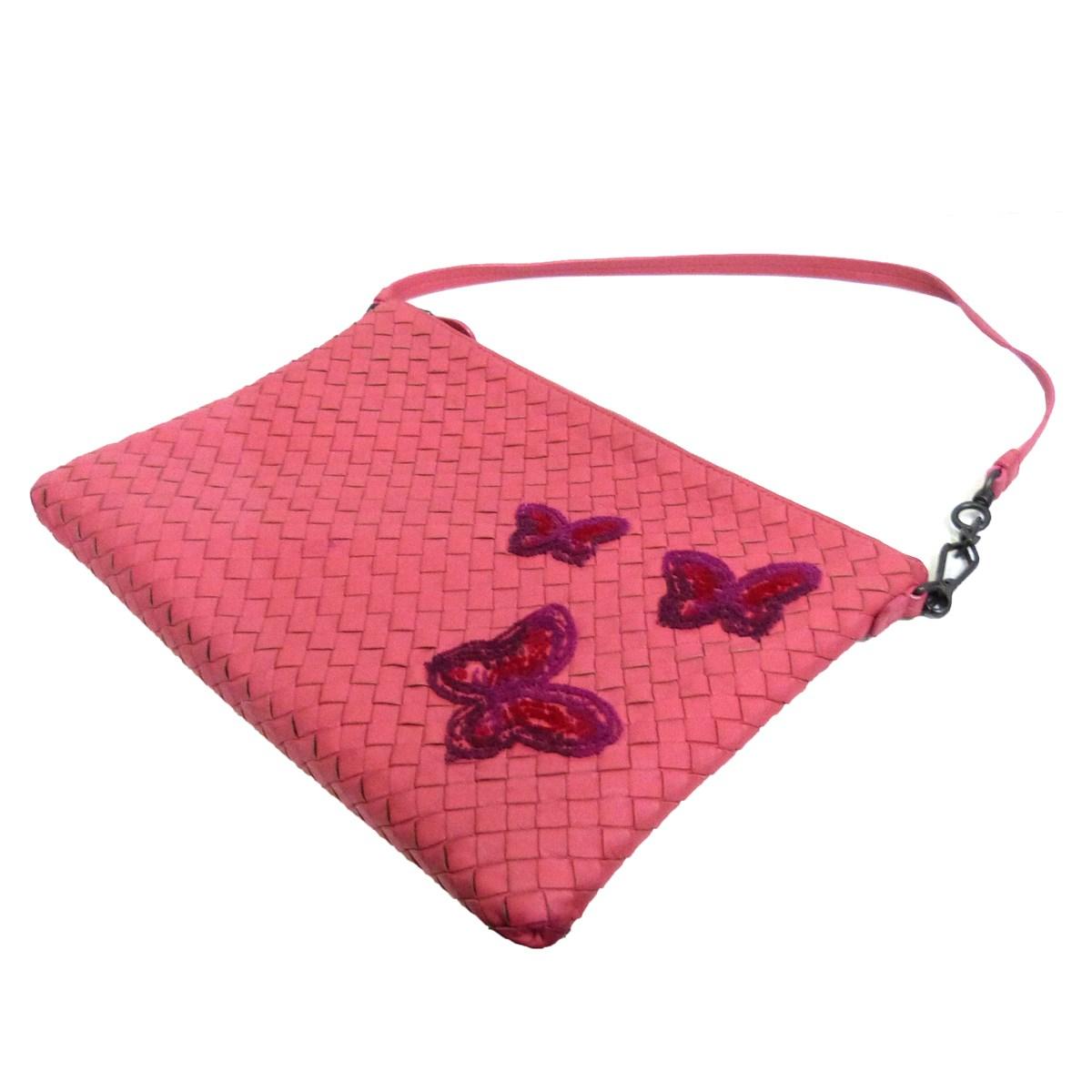 【中古】BOTTEGA VENETAバタフライ刺繍イントレチャートクラッチバッグ ピンク サイズ:-