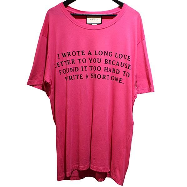 【中古】GUCCI 2017AW LOVE LETTER プリントTシャツ ロゴ Tシャツ ショッキングピンク サイズ:L 【300719】(グッチ)