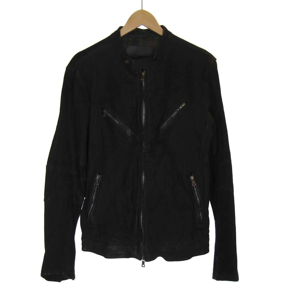 【中古】ISAMU KATAYAMA BACKLASHレザーシングルライダースジャケット ブラック サイズ:L【3月2日見直し】
