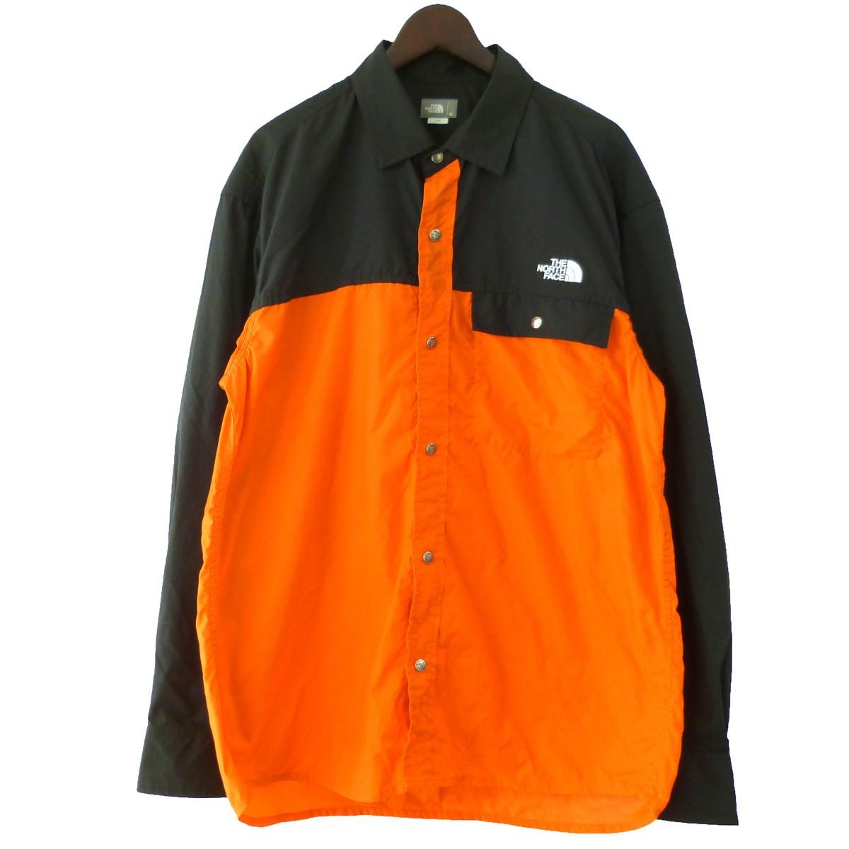 【中古】THE NORTH FACE 「L/S Nuptse Shirt」ロングスリーブヌプシシャツ パワーオレンジ サイズ:XL 【040819】(ザノースフェイス)