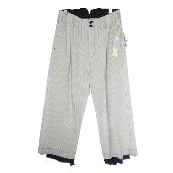 【中古】SULVAM2018S/S hight waist soccer PT/シアサッカーハイウエストパンツ ブルー×ホワイト サイズ:M