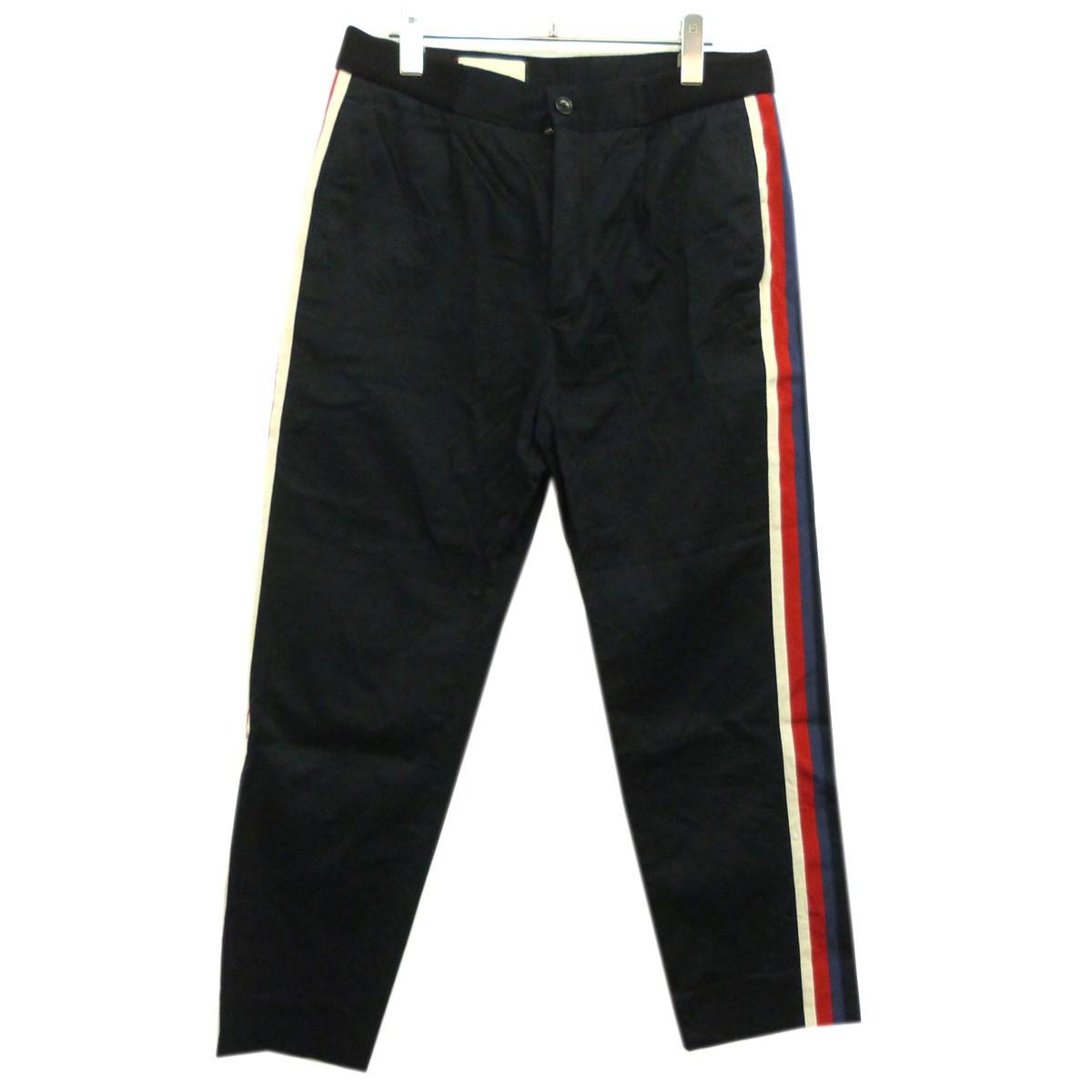 【12月2日 お値段見直しました】【中古】GUCCI17SSサイドラインタックパンツ ブラック サイズ:46