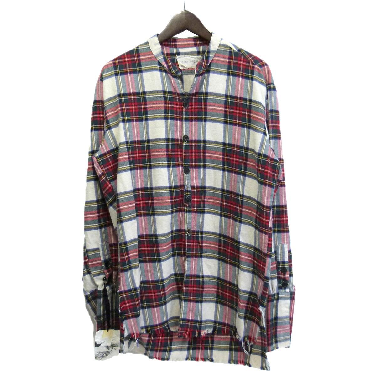 【中古】GREG LAUREN「THE FLANNEL STUDIO SHIRT」チェックフランネルスタジオシャツ ホワイト×レッド サイズ:3