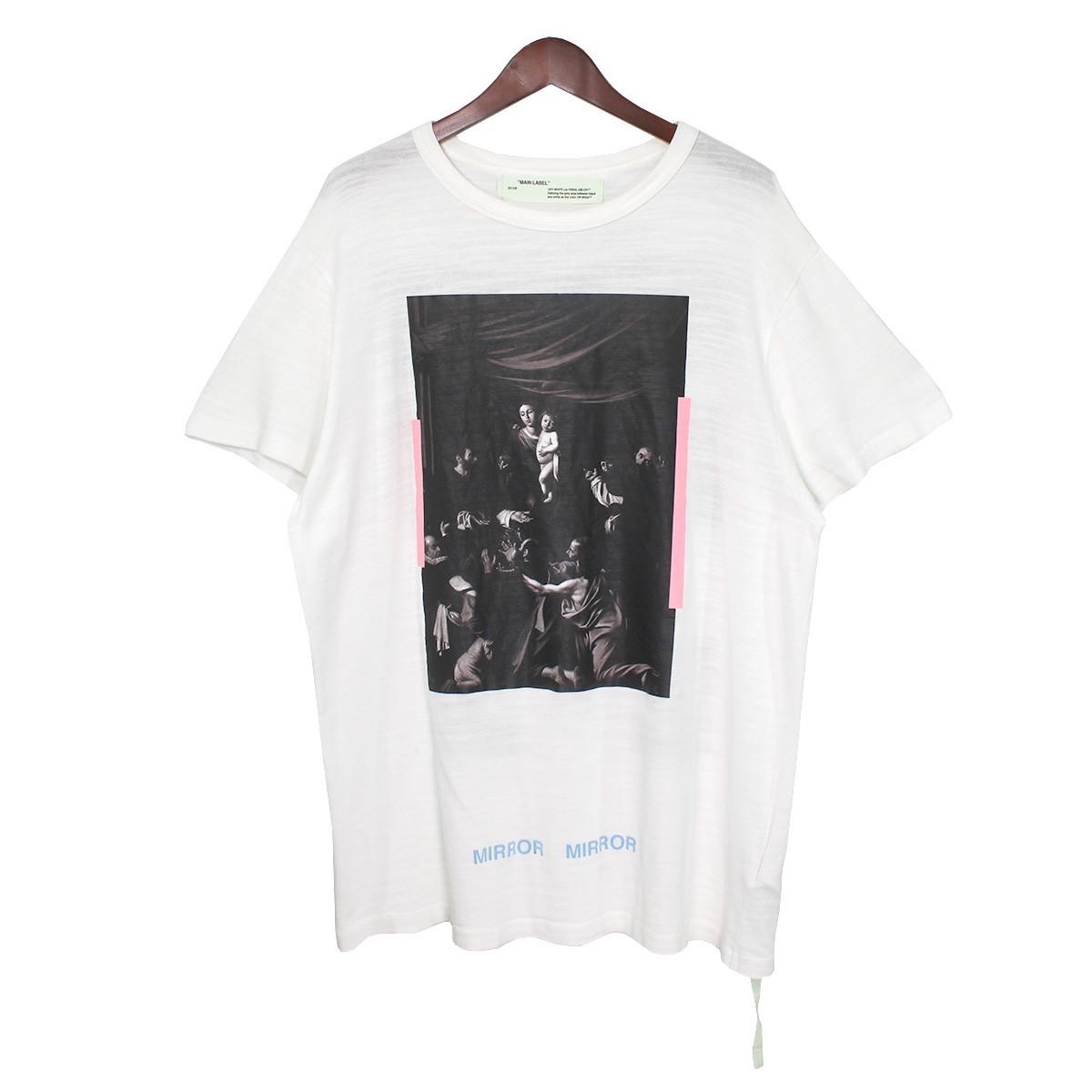 【中古】OFF WHITE17SS DIGA CARAVAGGIO バックロゴカラヴァッジョプリントTシャツ ホワイト サイズ:S 【3月30日見直し】