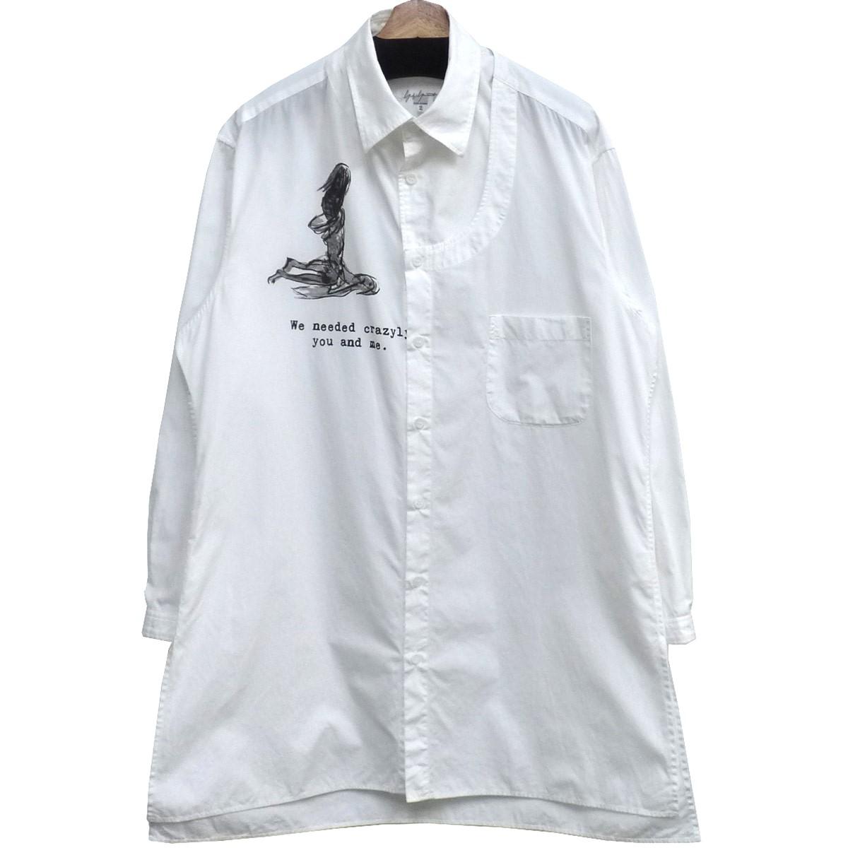 【中古】YOHJI YAMAMOTO pour homme 19SSカラーアタッチメントオーバーサイズシャツ ホワイト サイズ:2 【110819】(ヨウジヤマモトプールオム)