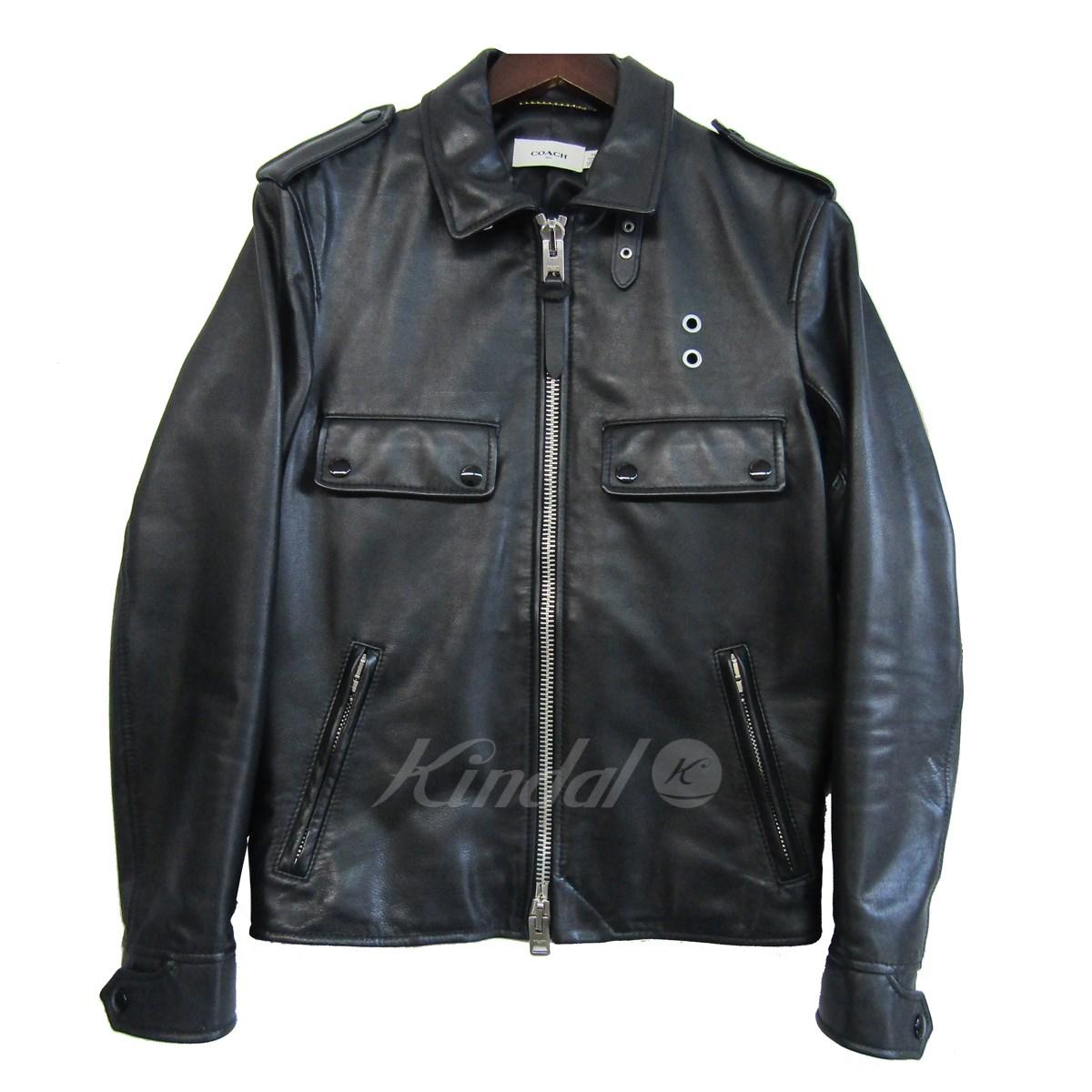 【中古】COACHバック裾切替シングルライダースジャケット ブラック サイズ:44【2月20日見直し】