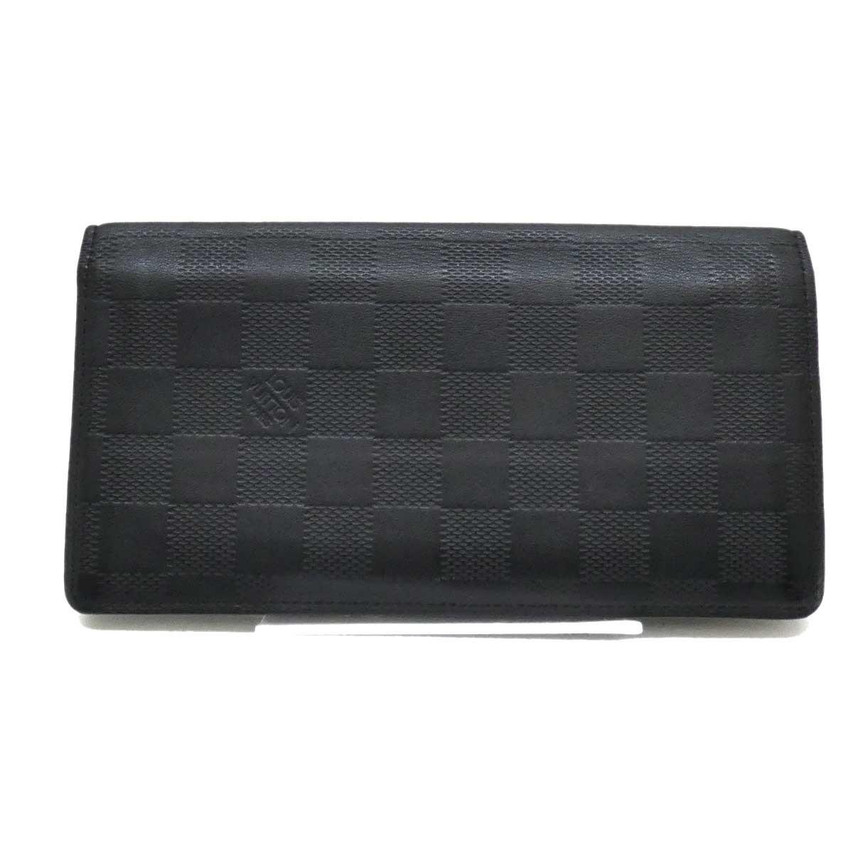 【中古】LOUIS VUITTON レザーダミエアンフィニ N63010 長財布 ブラック 【250819】(ルイヴィトン)