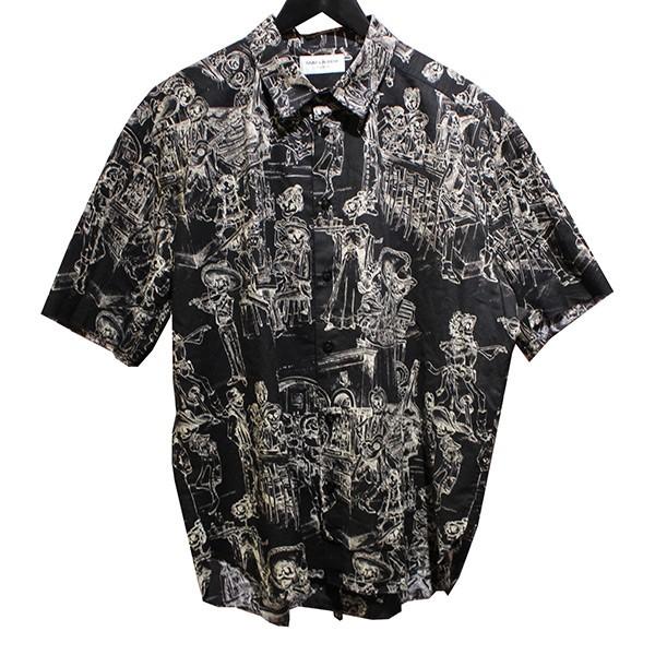 【中古】SAINT LAURENT PARIS2019SS メキシカンパーティーシャツ スカル柄 半袖シャツ ブラック サイズ:42
