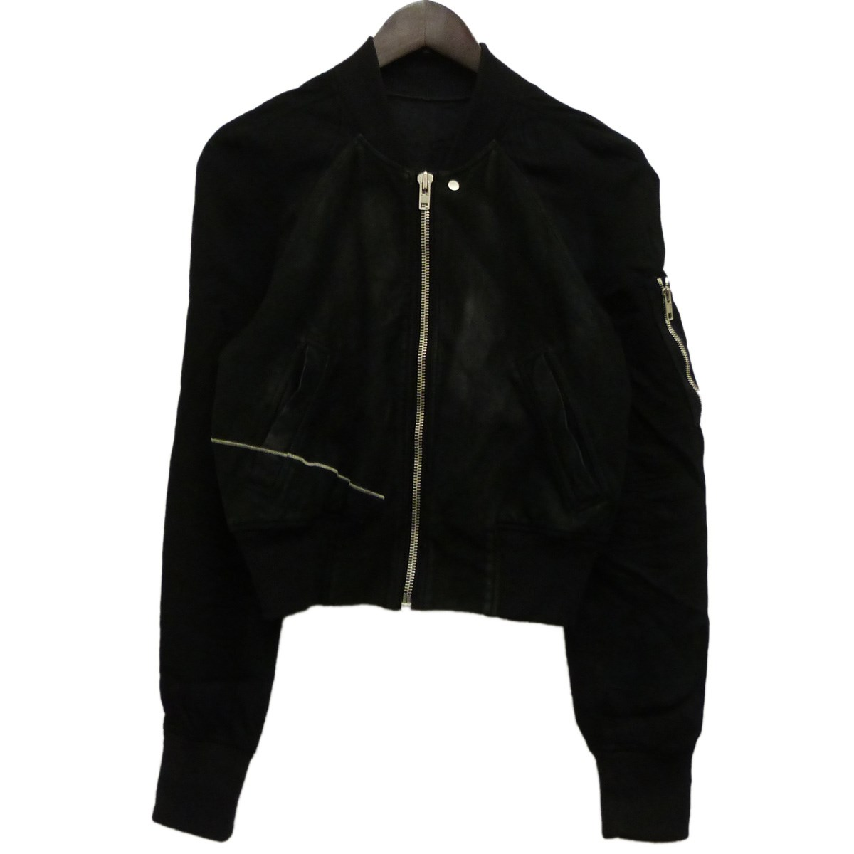 【中古】Rick Owens16SSレザーシルクコンビボンバージャケット ブラック サイズ:40 【4月20日見直し】