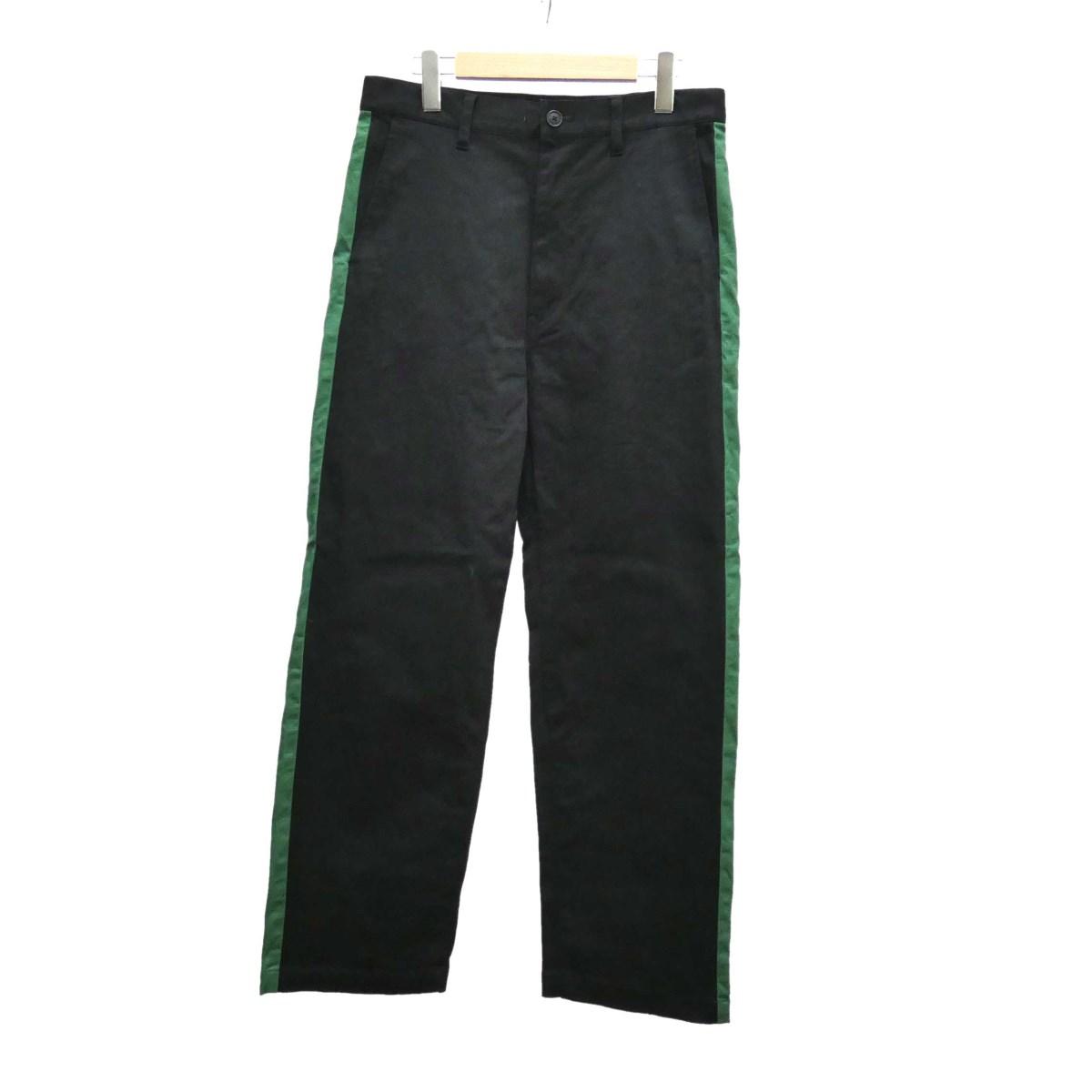 【中古】MR.GENTLE MAN SIDE LINE WIDE PANT パンツ 2019SS ブラック×グリーン サイズ:M 【030919】(ミスタージェントルマン)