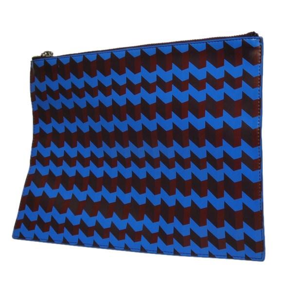 【中古】KENZO幾何学柄クラッチバッグ ブルー サイズ:-