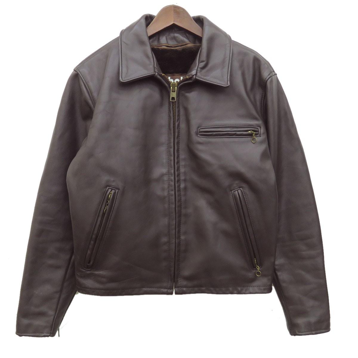 【中古】SCHOTT シングルライダースジャケット レザージャケット ライナー付き ブラウン サイズ:40 【150919】(ショット)