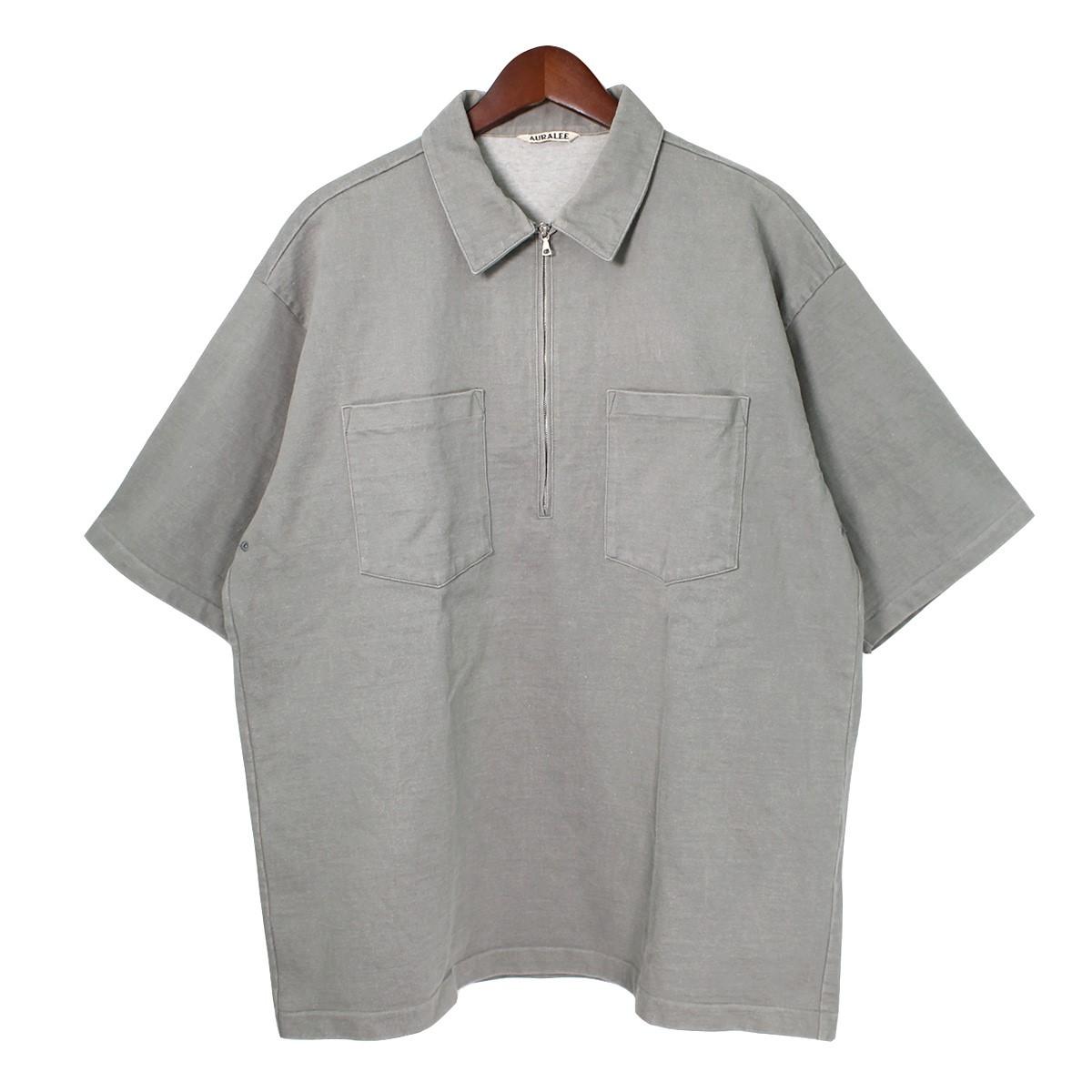 【11月18日 お値段見直しました】【中古】AURALEE17SS スタンドアップハーフジップポロシャツ オリーブ サイズ:5