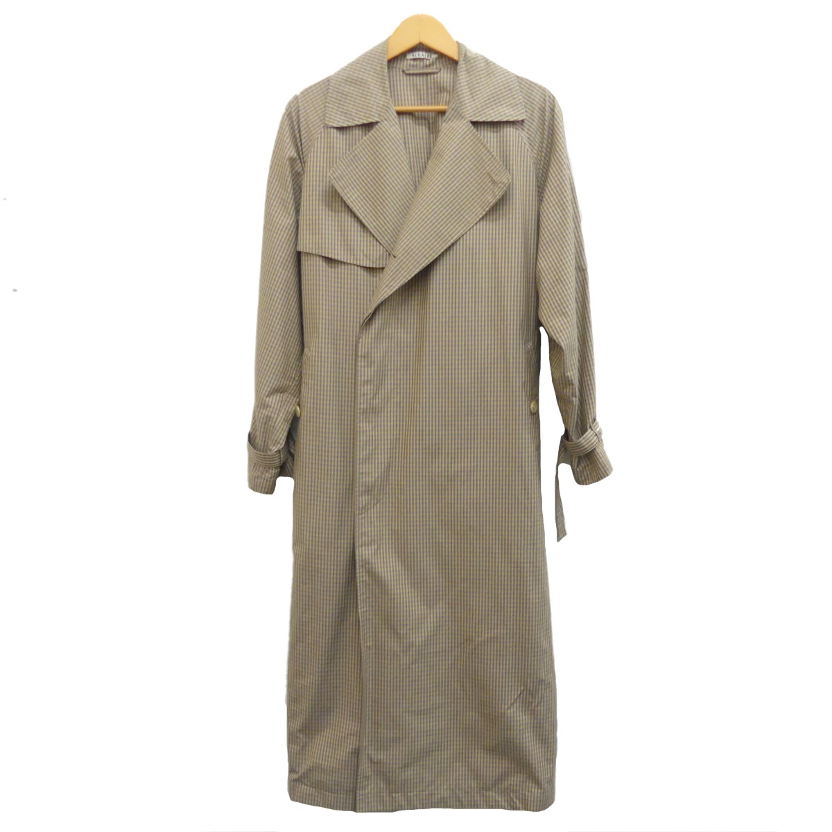 【中古】AURALEE2019S/S FINX WEATHER CLOTH CHECK BIG TRENCH COAT ベージュ サイズ:0