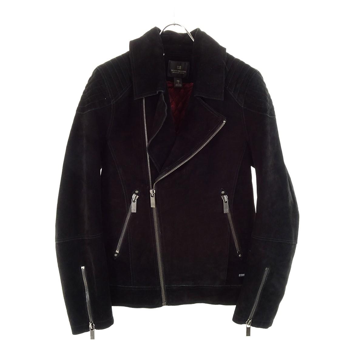 【中古】SCOTCH&SODA スウェードレザーライダースジャケット ブラック サイズ:S 【200919】(スコッチアンドソーダ)