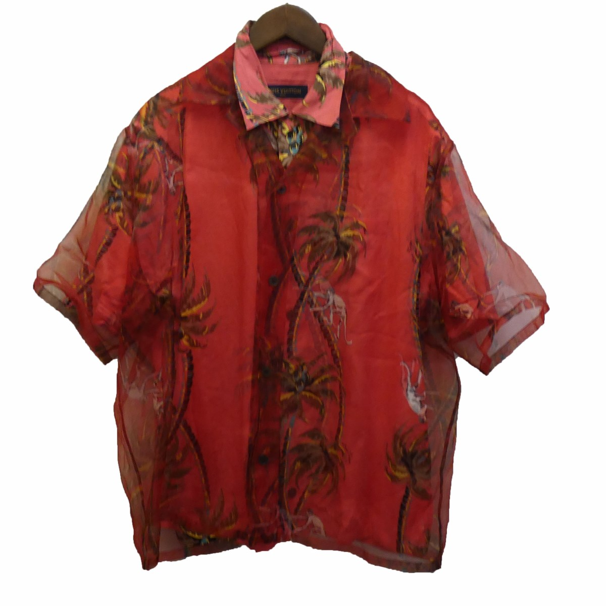 【中古】LOUIS VUITTON18SS ハワイアンモンキパームダブルレイヤードアロハシャツ レッド サイズ:L