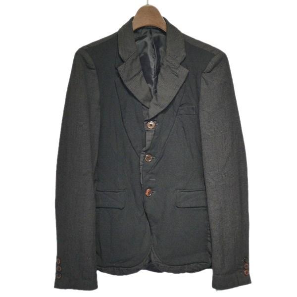 【中古】COMME des GARCONS HOMME PLUS 縮絨切替グレンチェックジャケット ブラウン×ブラック サイズ:XS 【220919】(コムデギャルソンオムプリュス)